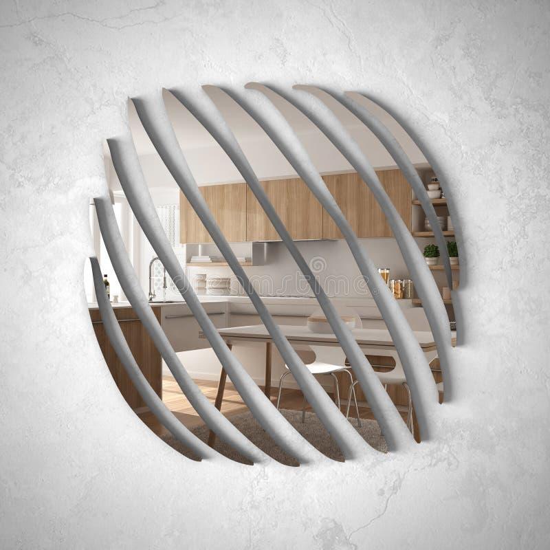 垂悬在墙壁上的现代镜子反射室内设计场面,有餐桌的,最低纲领派白色曲拱现代木厨房 向量例证