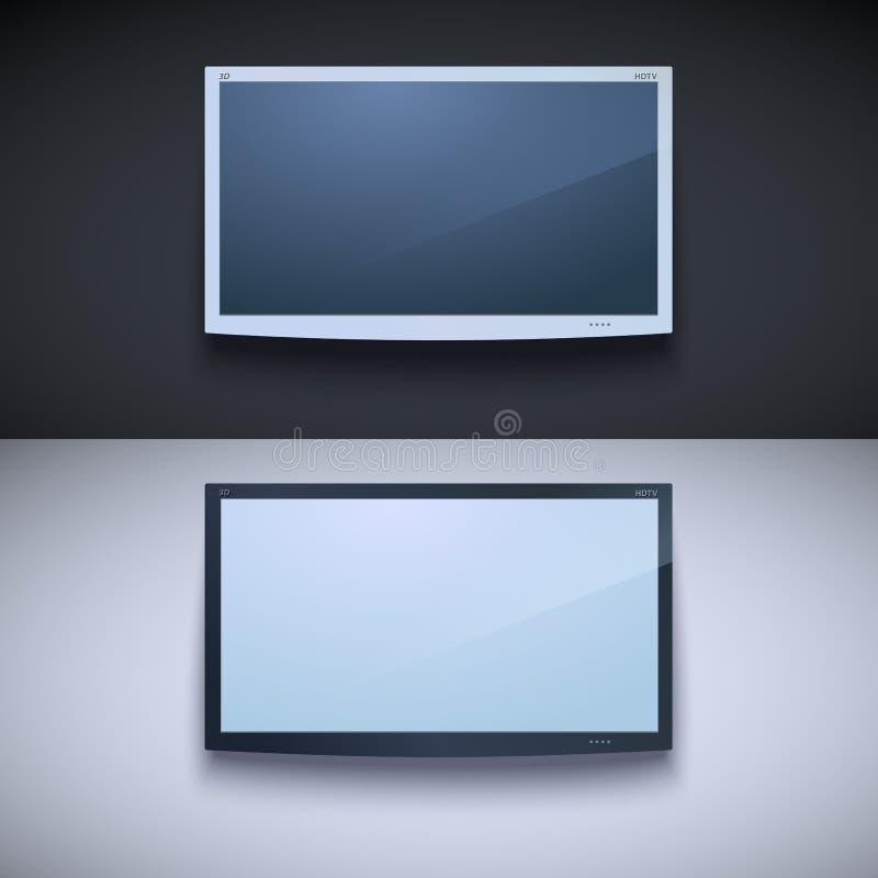 垂悬在墙壁上的被带领的电视 向量例证