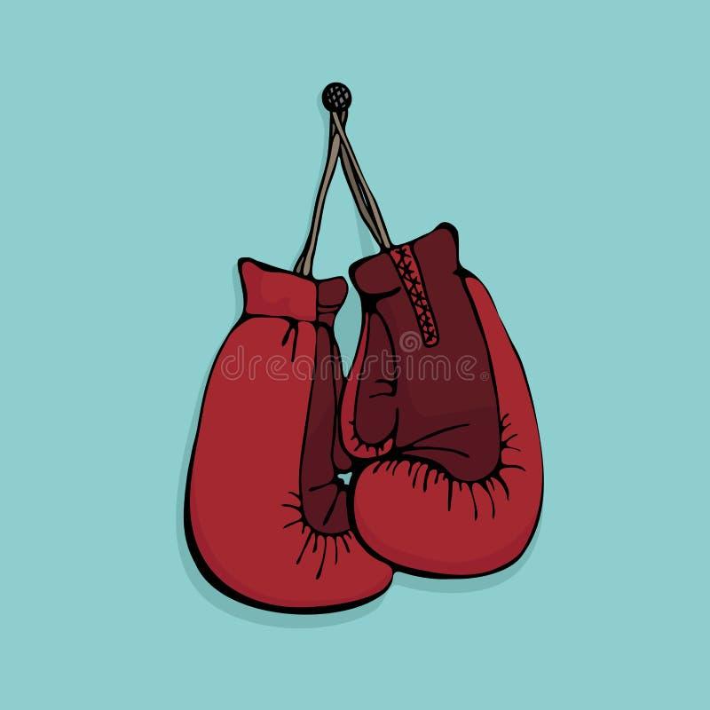 垂悬在墙壁-简单的传染媒介例证上的红色拳击手套 向量例证