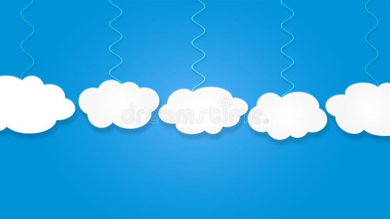 垂悬在天空蔚蓝背景中的抽象白色云彩 库存例证