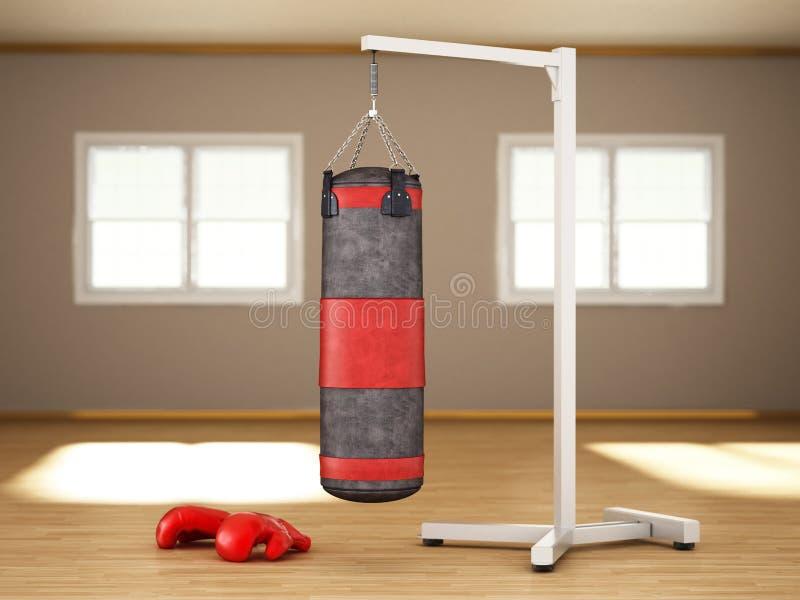 垂悬在屋子里面的链子的拳击沙袋 3d?? 库存例证