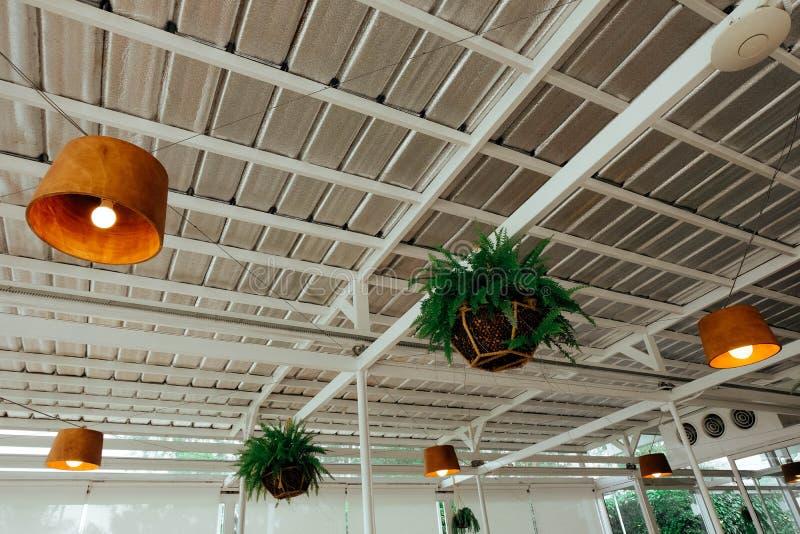 垂悬在屋顶下的庭院装饰 免版税库存图片