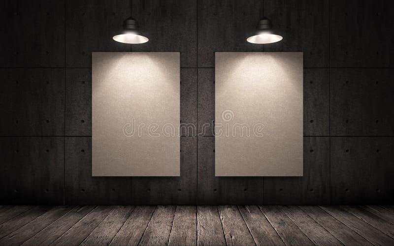 垂悬在工业内部的墙壁上的两张海报 嘲笑 库存照片