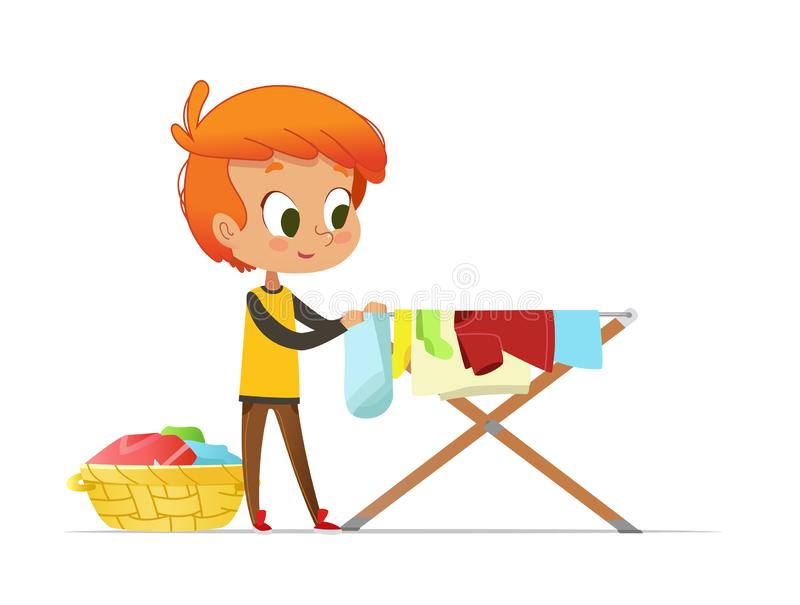 垂悬在干燥机架的可爱的矮小的红头发人男孩被洗涤的衣裳隔绝在白色背景 孩子的家庭活动 库存例证