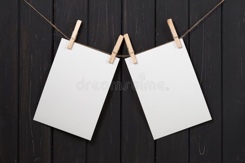 垂悬在晒衣夹的空白的白皮书卡片 库存图片
