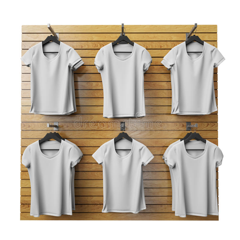 垂悬在木商店的空白的白色T恤杉在白色背景站立,隔绝 向量例证