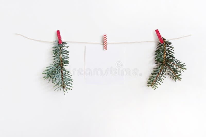 垂悬在木布料钉和绳索的空白的便条纸板料与绿色冷杉分支 圣诞节大模型模板 库存图片