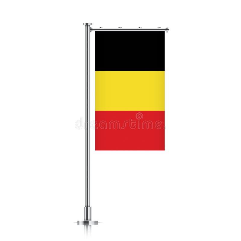 垂悬在杆的比利时旗子 皇族释放例证