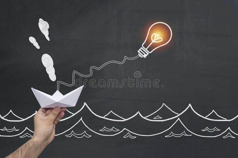 垂悬在电灯泡的纸小船 企业好处机会和成功概念 领导,独立,主动性, 免版税库存照片