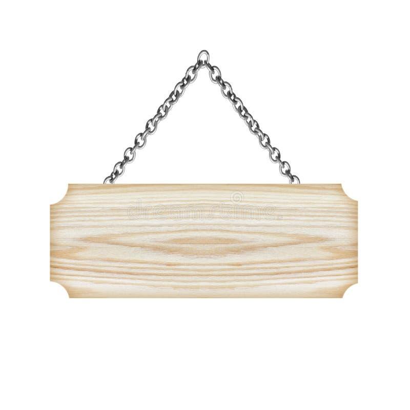 垂悬在白色背景的链孤立的木标志 图库摄影