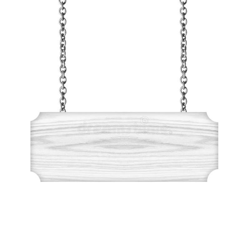 垂悬在白色背景的链孤立的木标志 库存照片