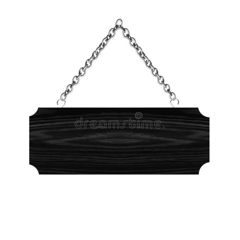 垂悬在白色背景的链孤立的木标志 库存图片