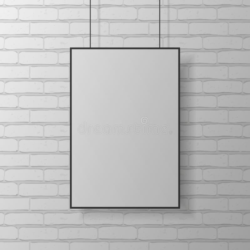 垂悬在砖墙上的白色空白的海报大模型 E 向量例证