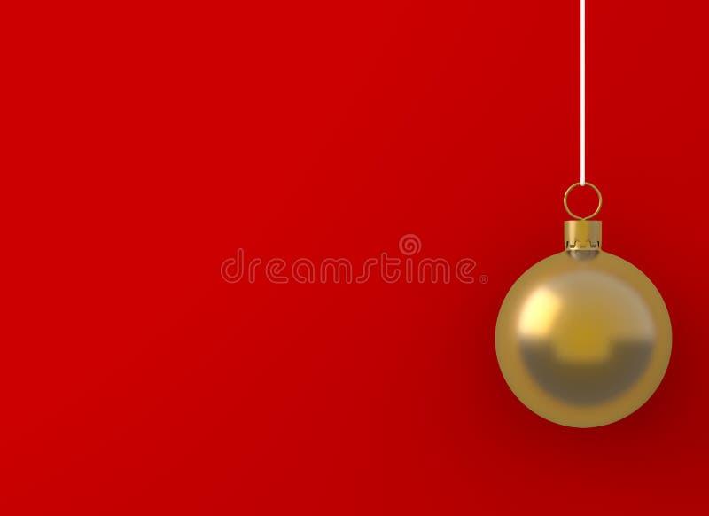 垂悬在红色背景的圣诞节球金黄装饰品 生动描述书刊上的图片设计广告的拷贝空间或增加正文消息 假日c 皇族释放例证