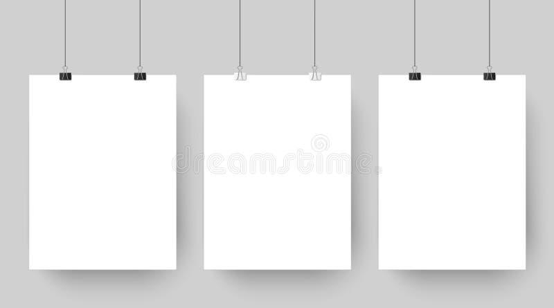 垂悬在纸夹的空的affiche大模型 白色空白的广告海报模板投下在灰色背景的阴影 向量例证
