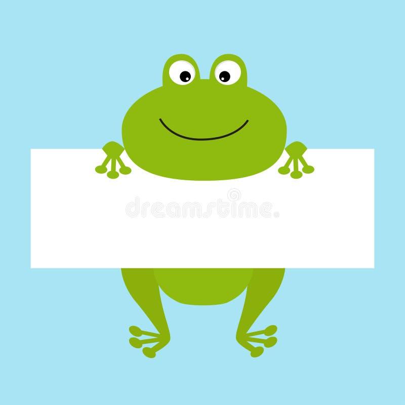 垂悬在纸板模板的滑稽的青蛙 大眼睛 Kawaii动物身体 逗人喜爱的漫画人物 到达婴孩看板卡乐趣例证 平的设计样式 Bl 库存例证