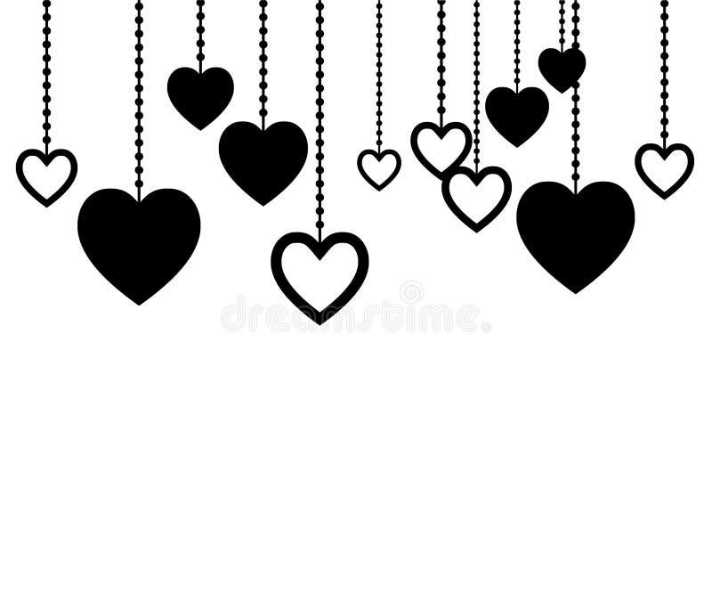 垂悬在绳索的黑白心脏 图表为情人节 卡片的干净和可爱的设计 向量例证