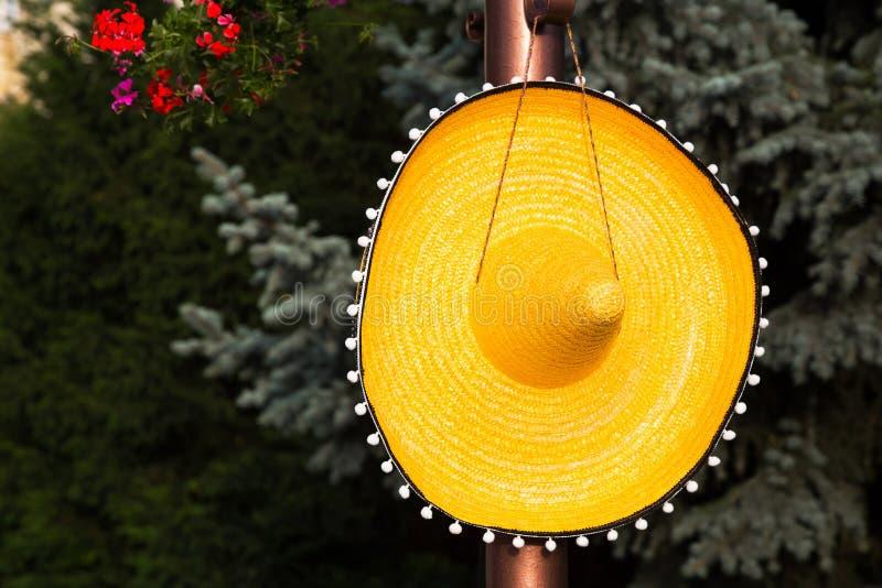 垂悬在钉的大宽充满的秸杆阔边帽 库存照片