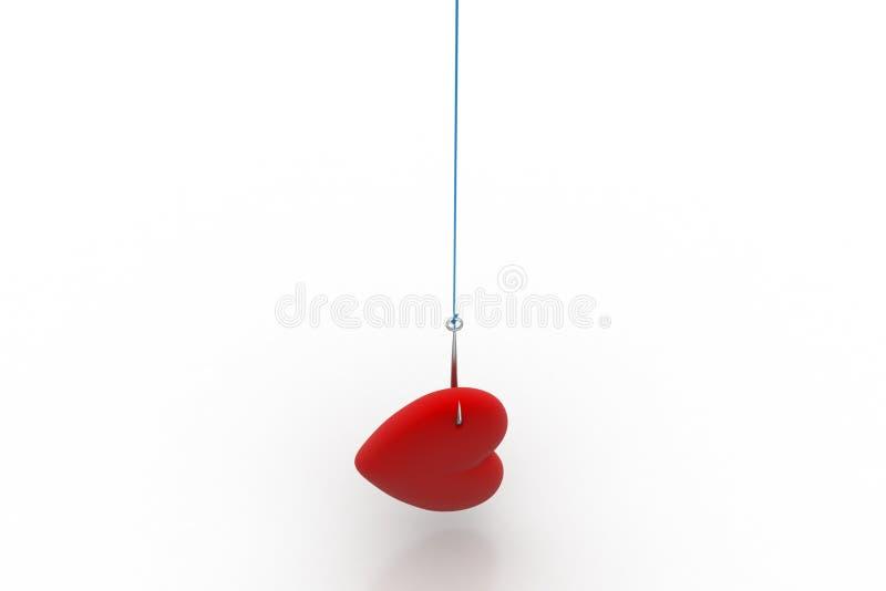 垂悬在钓鱼钩的爱心脏 向量例证