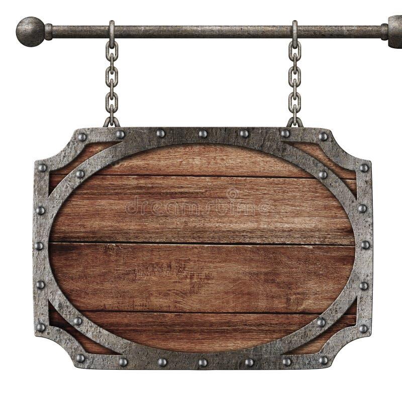 垂悬在链子的中世纪木标志被隔绝 库存图片
