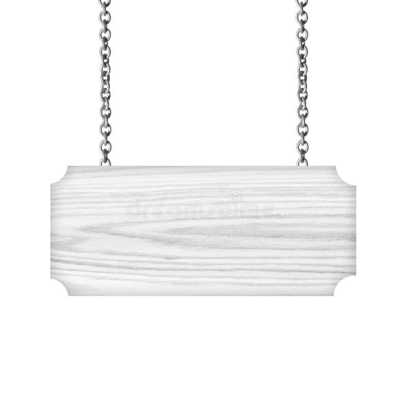垂悬在链子的灰色木标志隔绝在白色背景 免版税库存图片