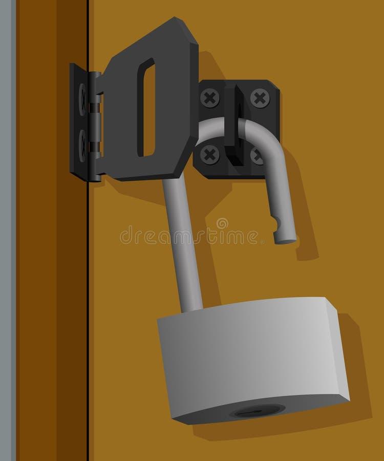 垂悬在门的挂锁 库存图片