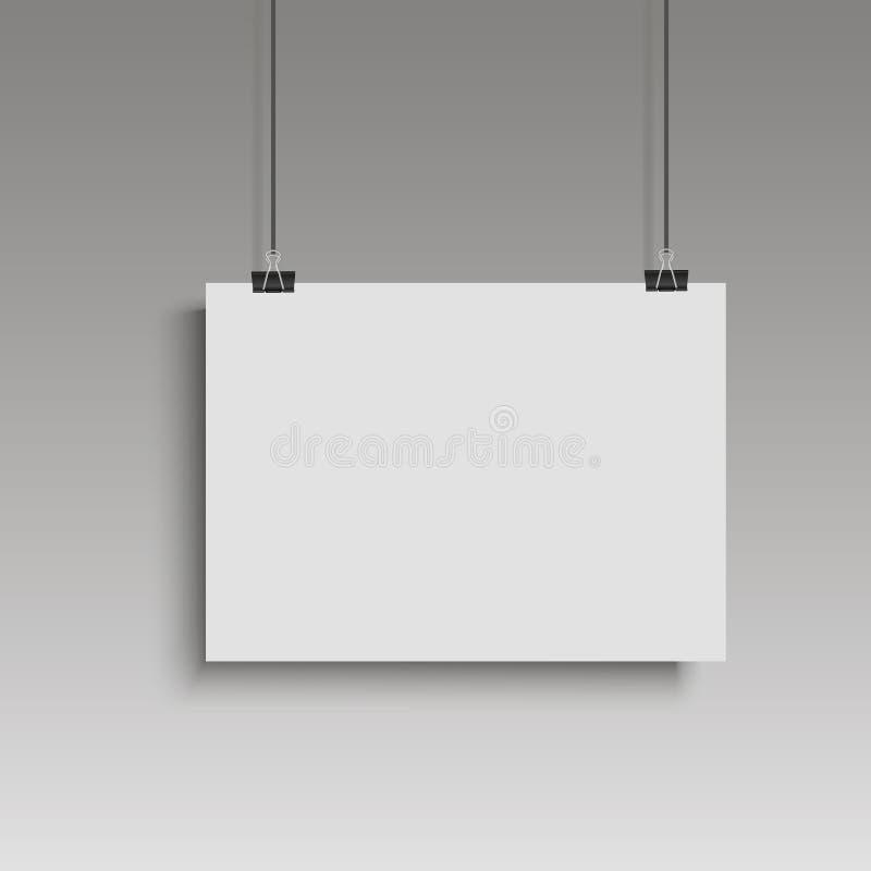 垂悬在黏合剂的图象白色海报 有嘲笑的灰色墙壁空的纸空白 向量 皇族释放例证