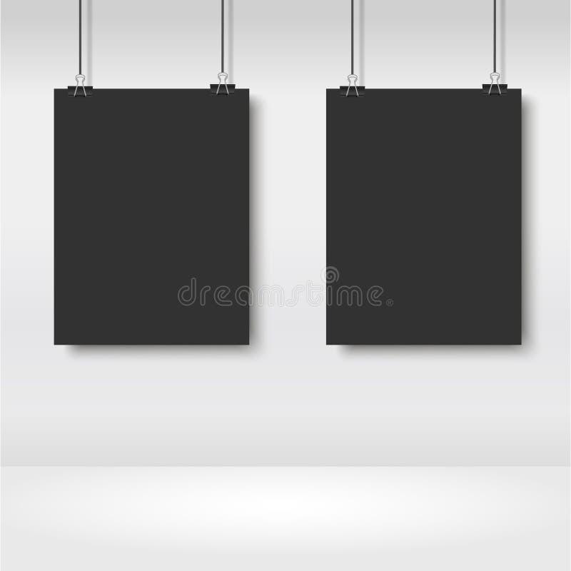 垂悬在黏合剂的现实黑海报 向量 皇族释放例证
