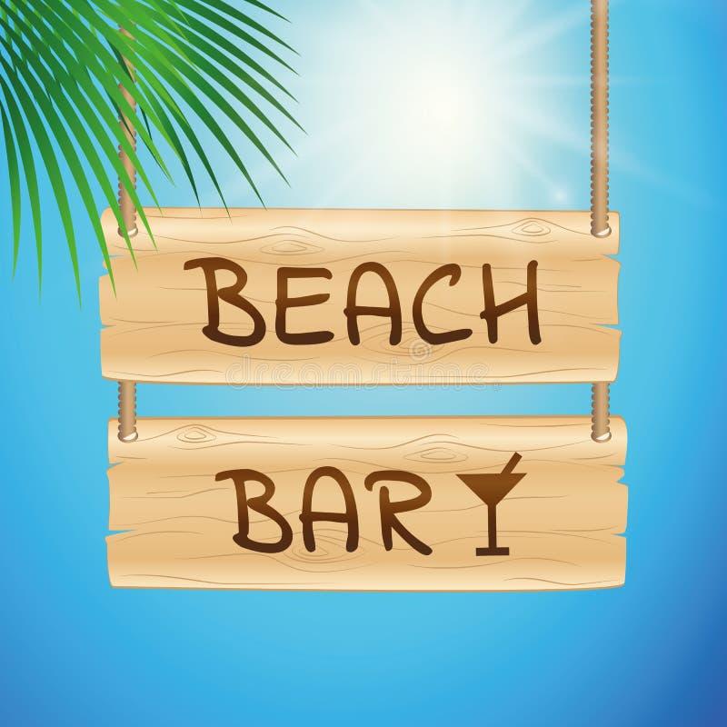 垂悬木板有晴朗的天空背景和棕榈叶的海滩酒吧 库存例证