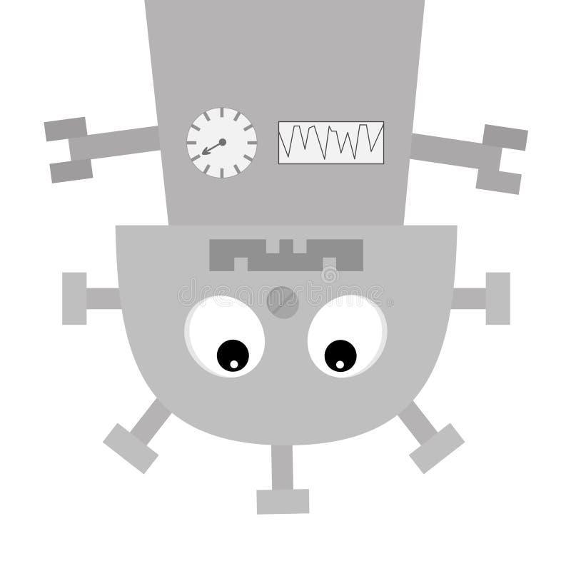 垂悬机器人的身体颠倒 拧紧鼻子,时钟心脏,与牙的嘴 逗人喜爱的葡萄酒漫画人物 灰色金属 婴孩collec 库存例证