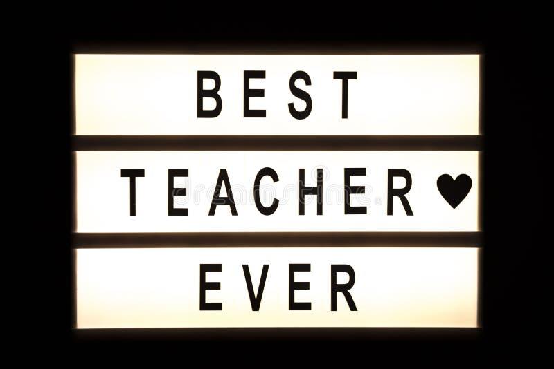 垂悬灯箱的最佳的老师 免版税库存图片