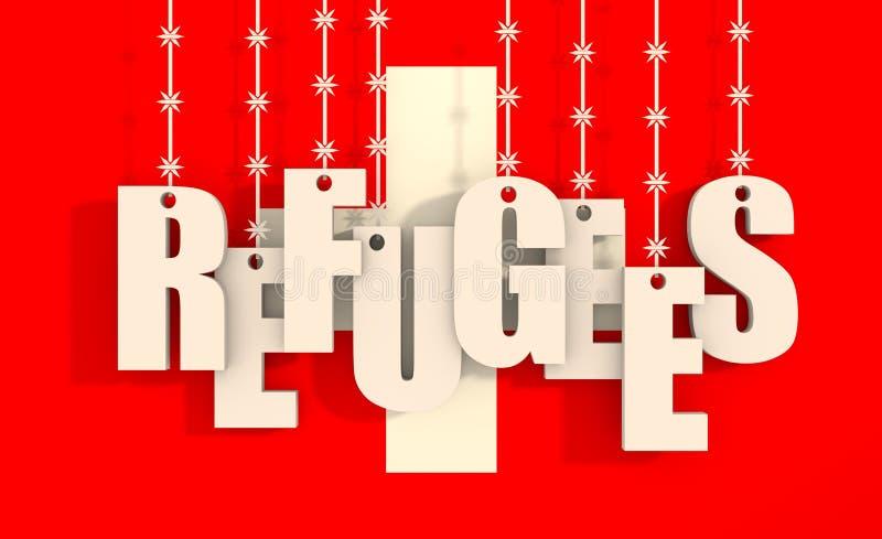 垂悬由铁丝网的难民文本 向量例证
