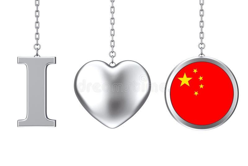 垂悬由链子我爱中国标志作为银色心脏和徽章机智 皇族释放例证