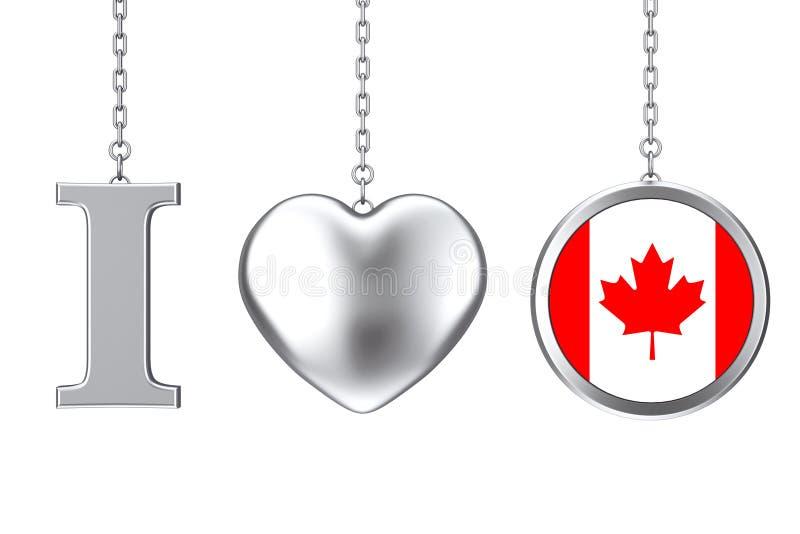 垂悬由链子我爱加拿大标志作为银色心脏和徽章wi 库存例证