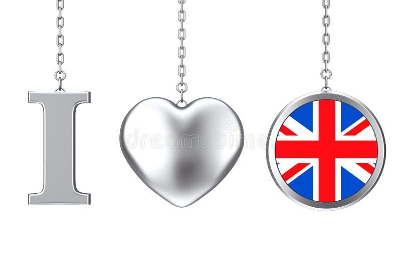 垂悬由链子我爱大英国标志作为银色心脏和B 库存例证