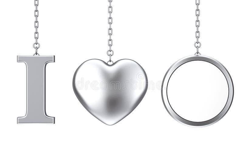 垂悬由链子我爱某事标志作为银色心脏并且删去 皇族释放例证