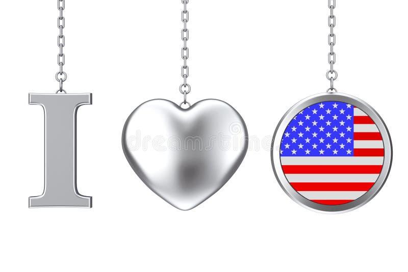 垂悬由链子我爱美国签字作为银色心脏和徽章与 皇族释放例证