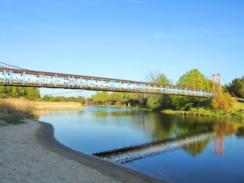 垂悬的人行桥,立陶宛 免版税图库摄影