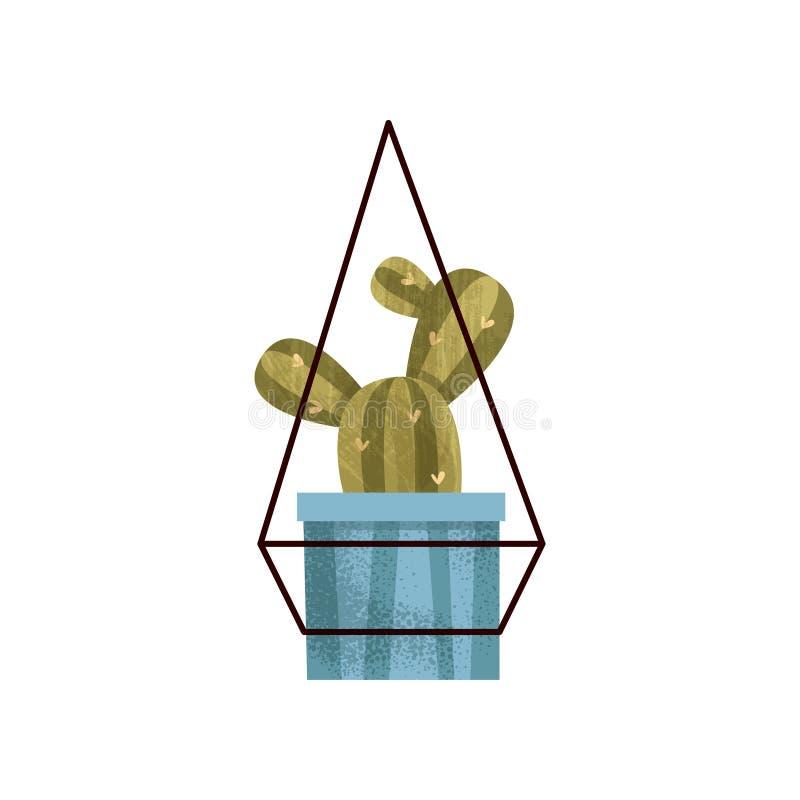 垂悬的仙人掌在一个罐、典雅的家或者办公室装饰传染媒介例证安置植物在白色背景 库存例证
