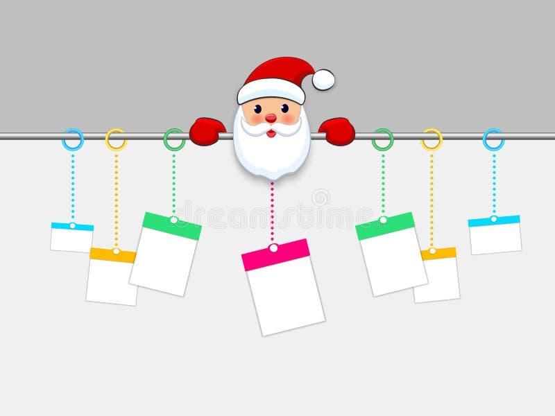 垂悬的圣诞礼物箱子 在白色背景的当前包裹纸裁减 向量例证
