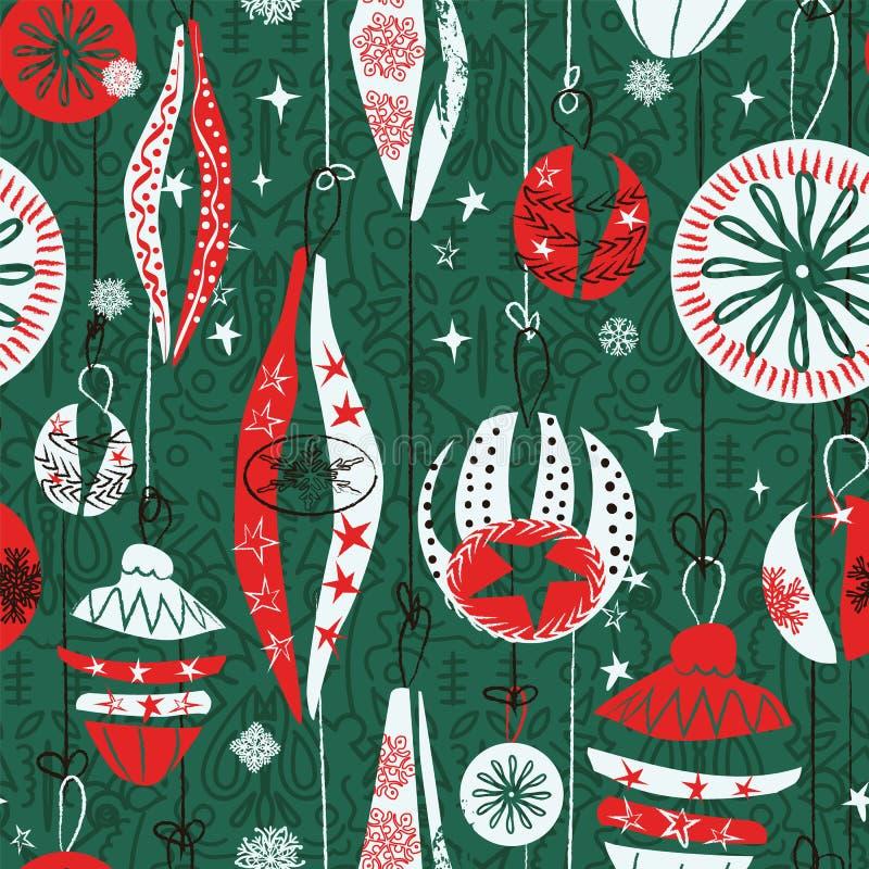 悬挂圣诞饰品无缝图案背景 复古抽象图设计 圣诞包装纸设计 向量例证