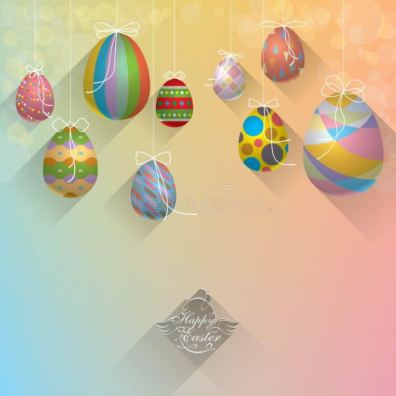 垂悬的复活节彩蛋背景摘要闪烁Defocused作用 库存例证