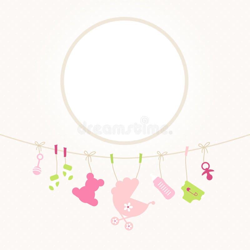 垂悬的婴孩象女孩圆的框架加点米黄 向量例证
