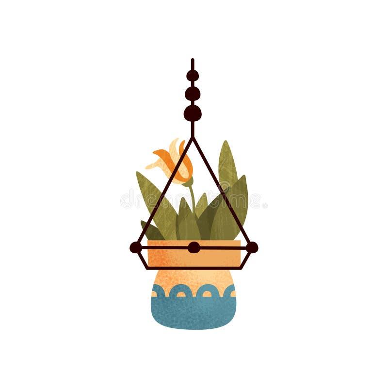 垂悬的开花的房子植物、典雅的家或者办公室装饰传染媒介例证在白色背景 皇族释放例证