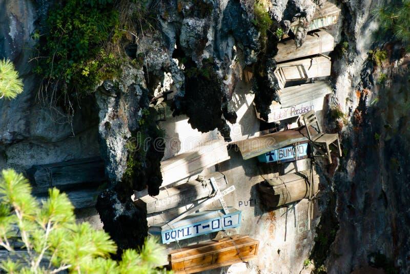 垂悬的棺材- Sagada -菲律宾 免版税库存照片