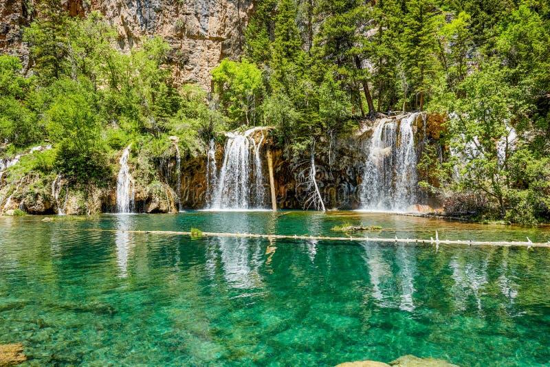 垂悬的湖瀑布,科罗拉多,美国 免版税库存图片