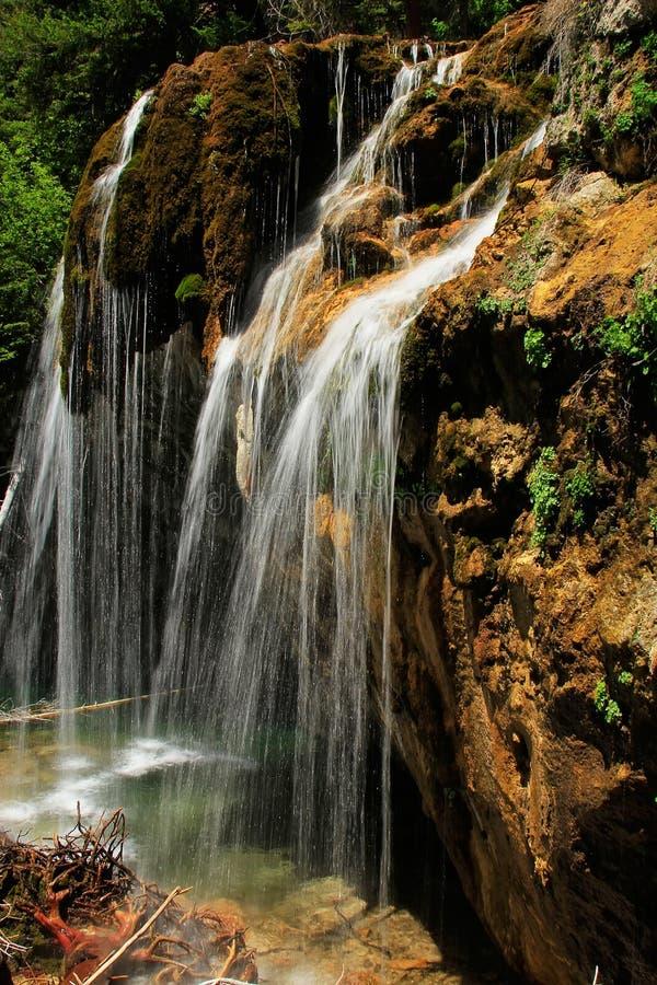 垂悬的湖瀑布, Glenwood峡谷,科罗拉多 库存照片