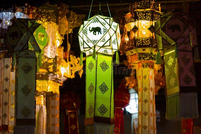 垂悬的灯笼在泰国寺庙和泰国家 由竹纸做 清迈,泰国泰国兰纳样式,在北泰国样式 库存图片
