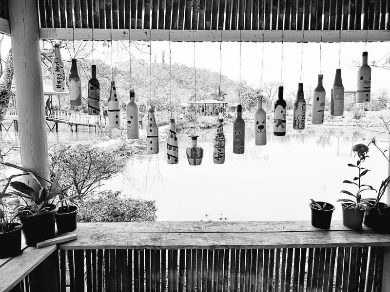 垂悬的瓶 黑白的是当日主题 对它的最好的春天的自然和花 图库摄影