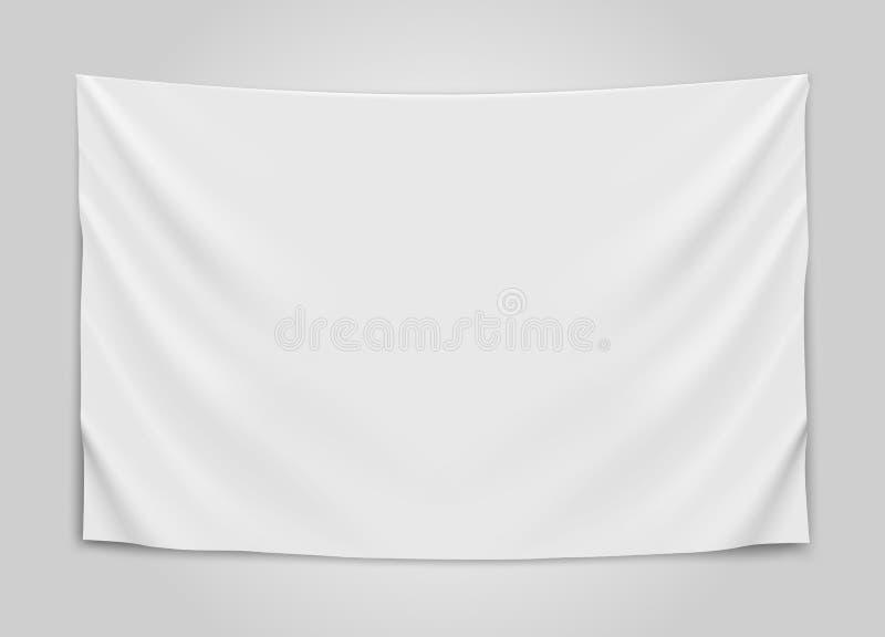垂悬的空的白旗 空白的旗子概念 库存例证